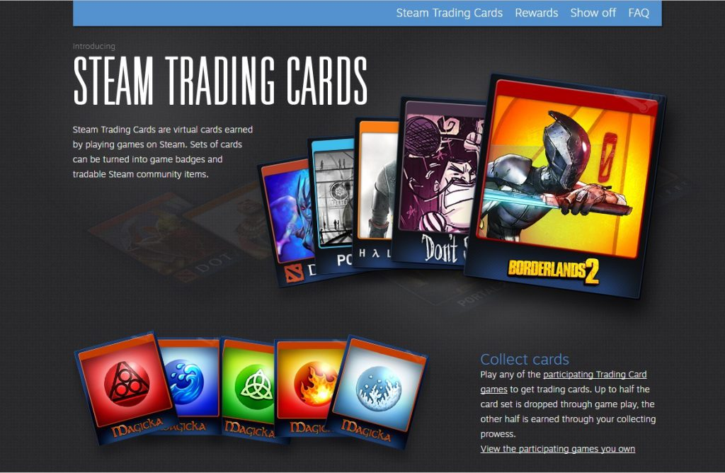Steam Trading Cards Page